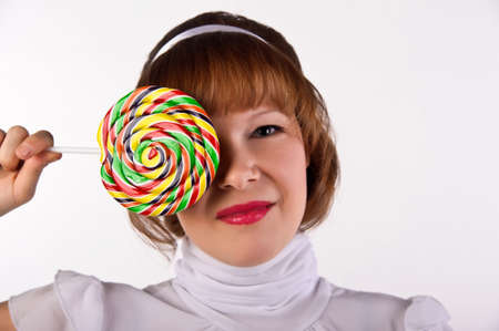 The girl with the big sugar candy photo