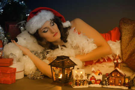 Sleeping girl at Christmas photo