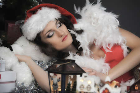Sleeping girl at Christmas Stock Photo - 11964692