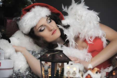 Sleeping girl at Christmas photo