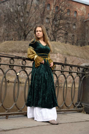 silver dress: girl in medieval dress