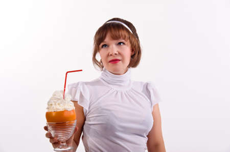 Woman drinking creativity Grapefruit juice  photo