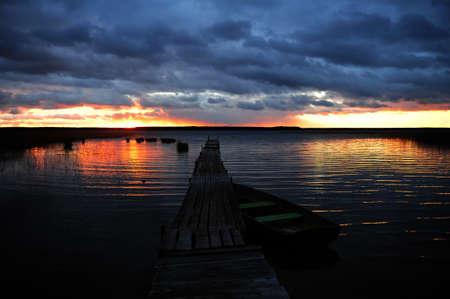 pier at sunset photo