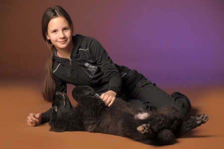 pat: teen girl with black dog
