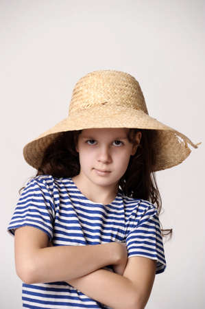 girl in a straw summer hat Stock Photo - 12205152