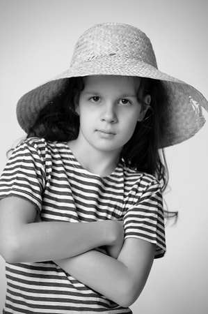 girl in a straw summer hat Stock Photo - 12205153
