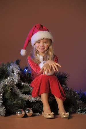 Little santa girl Stock Photo - 13253110