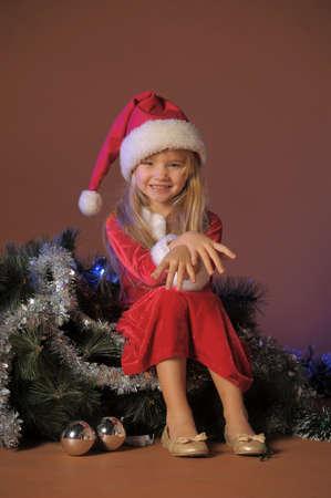 Little santa girl Stock Photo - 13253110