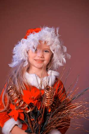 Little santa girl Stock Photo - 13253132