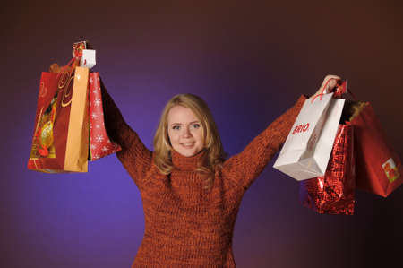 The young woman with gifts Stock Photo - 13039239