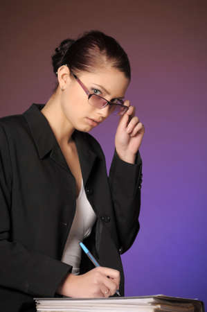 Business the woman with folders of papers Stock Photo - 12665625