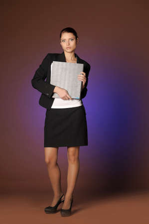 Business the woman with folders of papers photo