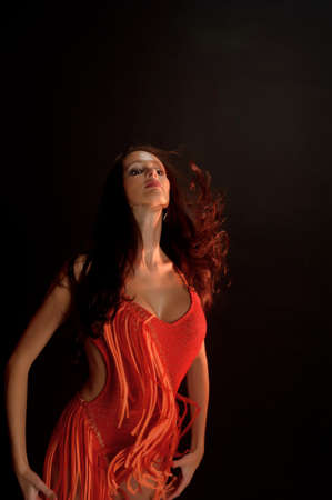 ambiguous: Brunette girl in red dress