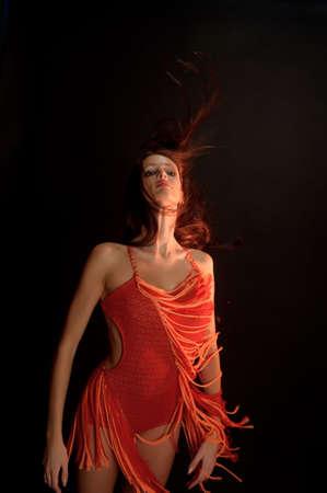 beautifu: Brunette girl in red dress