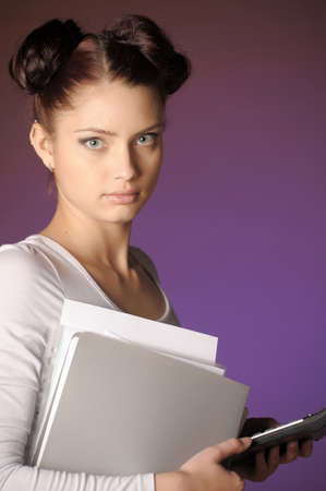 Business twoman with folders of papers photo