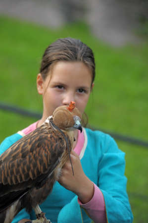 girl with a hawk photo