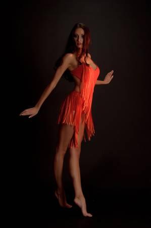 bailarinas arabes: gimnasta en rojo Foto de archivo