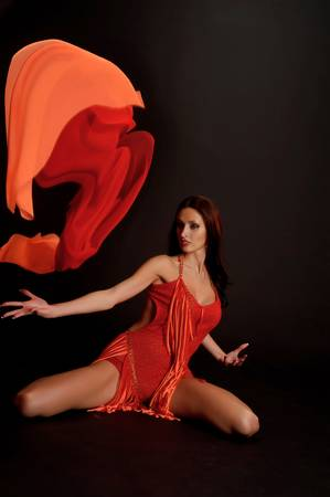 the gymnast in red with a fabric Stock Photo - 13342897