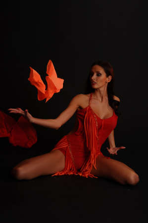 the gymnast in red with a fabric Stock Photo - 13342872