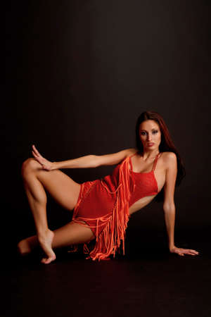 symboll: gymnast in red Stock Photo