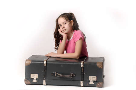 teen girl with a suitcase photo