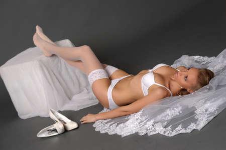 the sexual bride in white underwear Stock Photo - 13343009