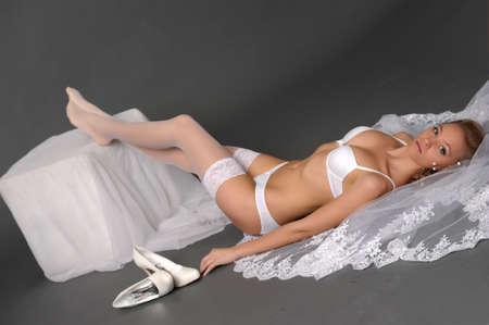 the sexual bride in white underwear Stock Photo - 13343004