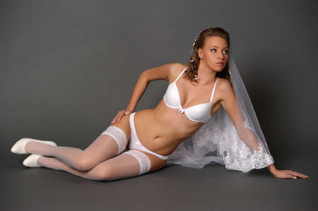 the sexual bride in white underwear Stock Photo - 13343005