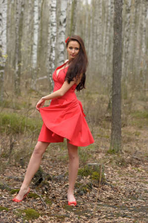 brunette in a red dress in the park Stock Photo - 18378302