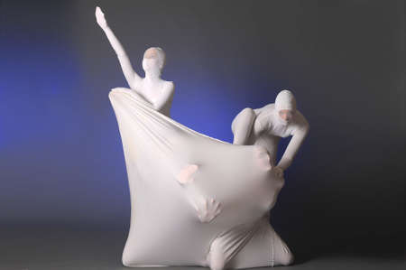 abstract figures dancing in a white Stock Photo - 12378308