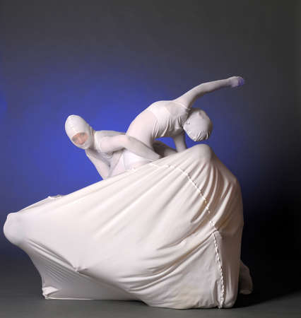 abstract figures dancing in a white photo