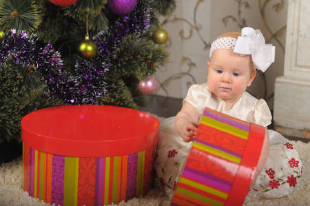 little girl with gift box Stock Photo - 17167072