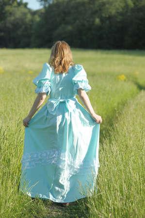 era: young woman in a Victorian era dress  Stock Photo
