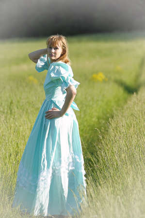 young woman in a Victorian era dress  photo