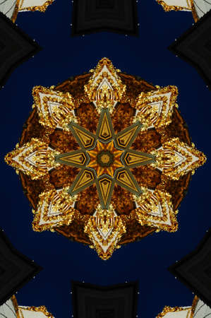 kaleidoscope: brown with blue kaleidoscope