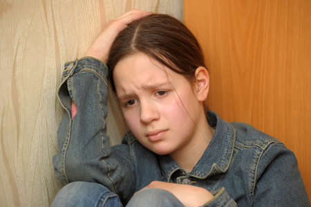 The girl the teenager in depression photo