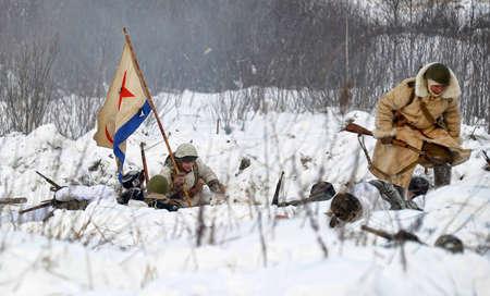 Reconstruction of a major military operation of the Leningrad Front - The January Thunder,  lifting of the blockade of Leningrad. Stock Photo - 12271644