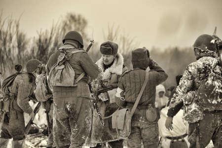 Reconstruction of a major military operation of the Leningrad Front - The January Thunder,  lifting of the blockade of Leningrad. Stock Photo - 12273105