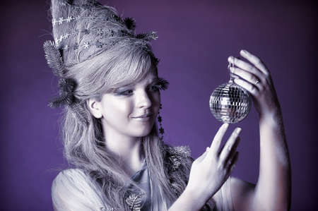 portrait of a girl with a mirror ball in his hands Stock Photo - 14166588