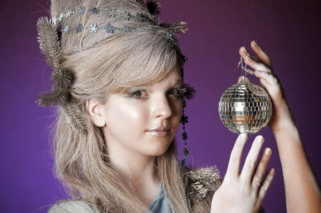 portrait of a girl with a mirror ball in his hands Stock Photo - 14166585