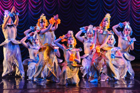 A group of Thai dancers perform Thai dance