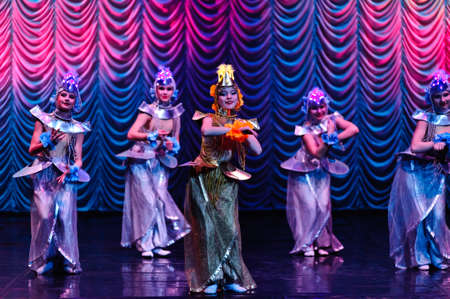 A group of Thai dancers perform Thai dance