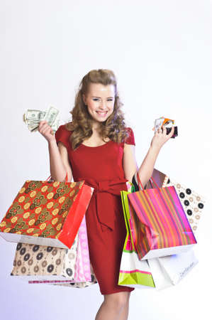 girl with shopping, money and credit cards Stock Photo - 12587699