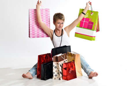 girl with bolshik of a package after store Stock Photo