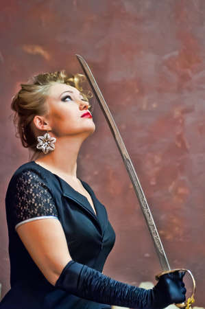 imminence: blonde with a sabre in hands