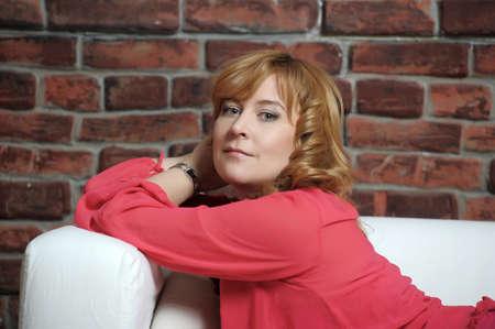 woman lying on the sofa relaxing Stock Photo - 17890844