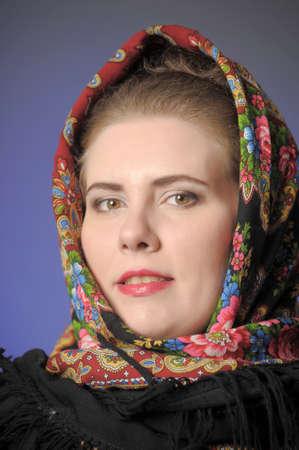 sudarium: Mature woman in kerchief  Stock Photo