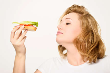 Woman with sandwich  photo