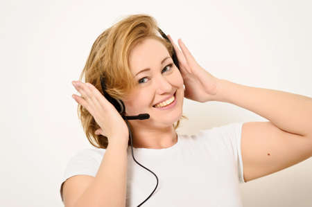 Woman with a Headset Stock Photo - 12443059