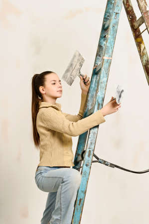 The girl is the house painter Stock Photo - 12676168